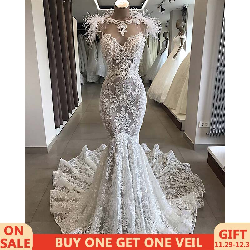 Super Deal Robe De Mariee Luxury Customized Lace Beading