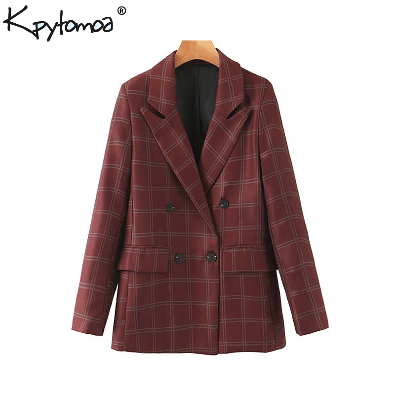 Vintage Stylish Office Lady Double Breasted Plaid Blazer Coat Women 2020 Fashion Long Sleeve Pockets Female Outerwear Chic Tops