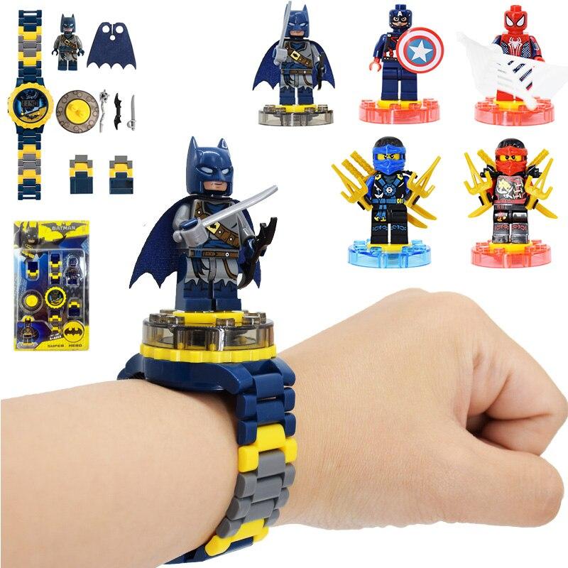 Batman Iron Man Spiderman Kids Toy Watches Marvel Avengers Princess Children Blocks Watch Education Toys For Boys Girls