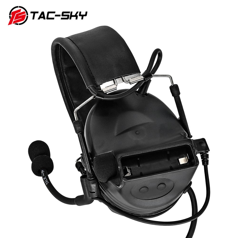 TAC-SKY COMTAC II Silicone Earmuffs Version Outdoor Hunting Sports Military Noise Reduction Pickup Tactical Headset BK