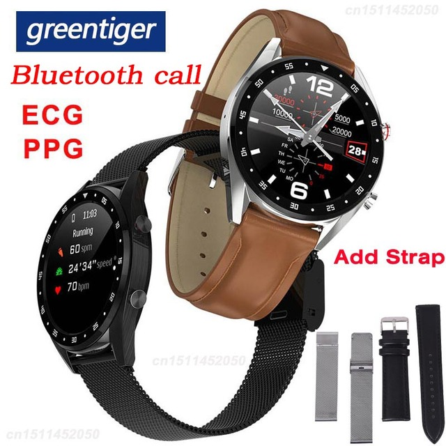 Greentiger L7 Bluetooth Call Smart Watch Men ECG PPG Heart Rate Blood Pressure Monitor IP68 Waterproof Smartwatch Android IOS VS