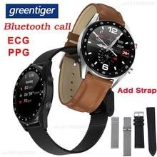 Greentiger L7 Bluetooth Oproep Smart Horloge Mannen Ecg Ppg Hartslag Bloeddrukmeter IP68 Waterdichte Smartwatch Android Ios Vs