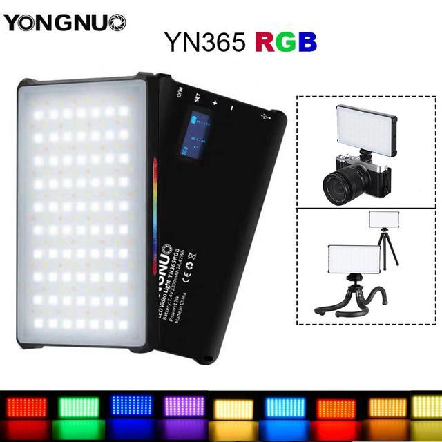 YONGNUO Luz LED de vídeo YN365 RGB, 12W, iluminación de fotografía colorida para cámara Sony Nikon DSLR