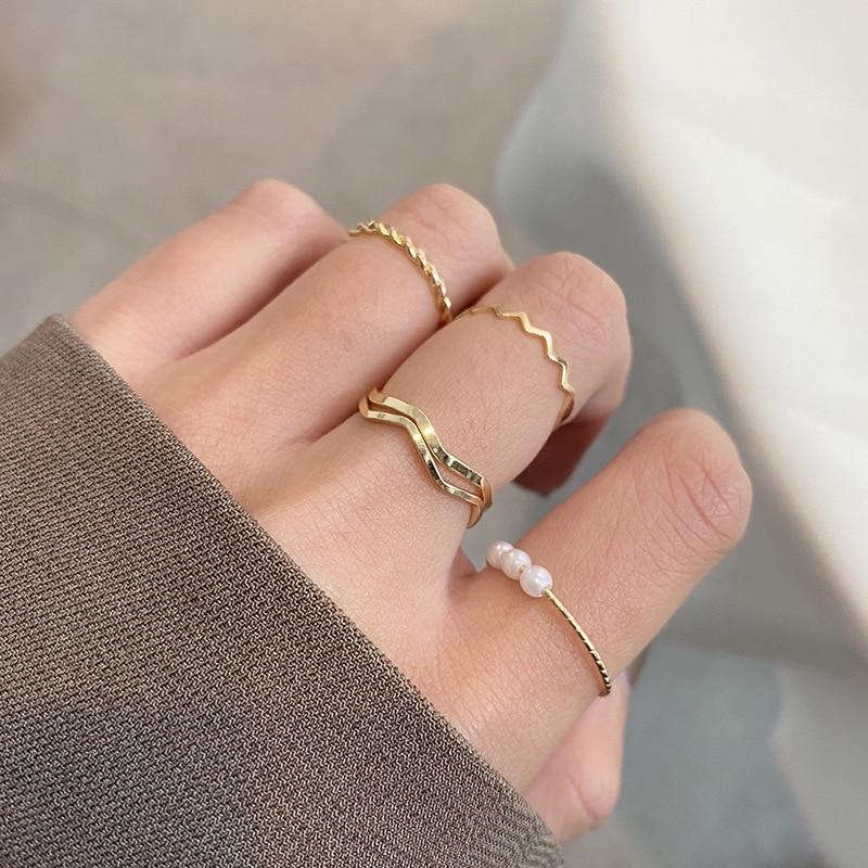 Ensemble de 5 bagues pour femmes, pièces/ensemble, perles rondes, Style minimaliste, simple, personnalité, bague géométrique, fête de mariage