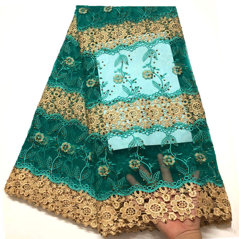 2019 New Designs African French Lace Fabric Green embroidered Nigeria french tulle lace fabrics With Stones