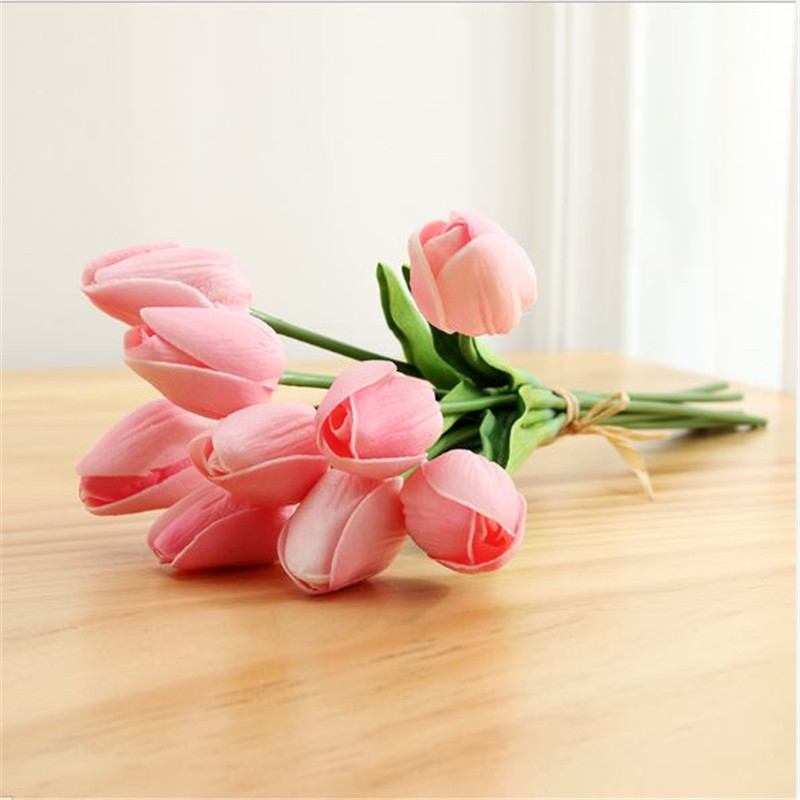 1PC PU Mini Tulips Artificial Flowers For Home And Wedding Decoration Flowers 49