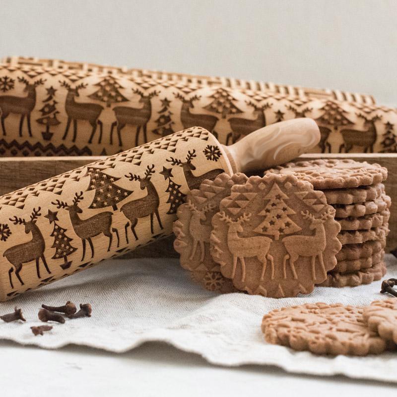 Noel kabartma ahşap Pin pişirme çerezleri erişte bisküvi fondan kek hamur kazınmış haddeleme ren geyiği mutfak aksesuarları
