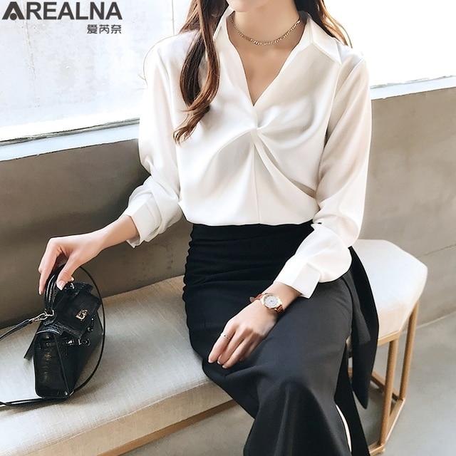 2020 autumn Women Blouse Korean office Long Sleeve Womens Tops And Blouses Vintage Folds Shirts Blusas Roupa Feminina Tops 3