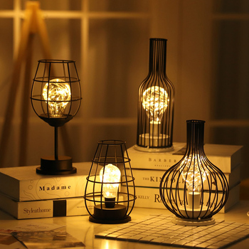 2020 New Creative Wrought iron night light Lantern Red Wine Bottle LED Lamp Drinking Glass Light for Cafe Hotel Balcony Hot sale hot sale wrought iron flamingo star tree wooden base night light creative led dream night table lamp bedroom gifts for girls