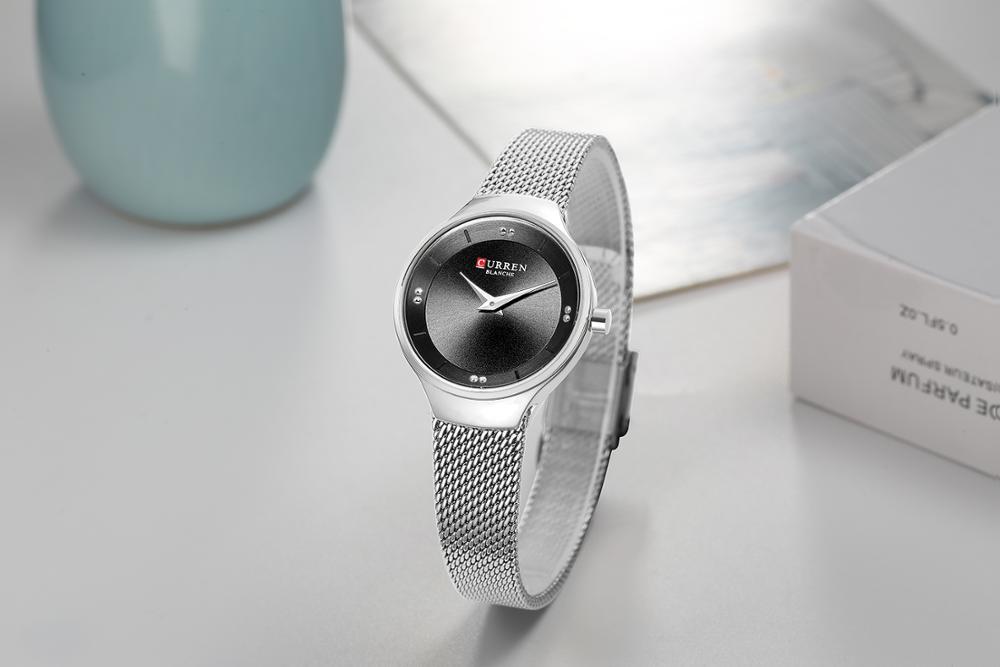 CURREN Fashion Female Watch Simple Elegant Style Wristwatch Women Mesh Quartz Watch Stainless Steel Waterproof Zegarek Damski in Women 39 s Watches from Watches