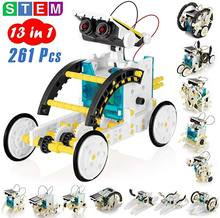 Robô movido a energia solar diy montado kit ciência brinquedos educativos para crianças 13 formas transformação robô menino presente da escola haste