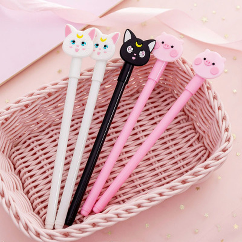 1pcs Cat Gel Pen 0.38mm  Cute Pens Novelty Stationery  Kawaii Pen Student Cute Black Writing Pens  Kawaii School Supplies