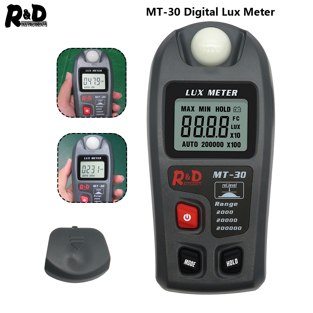 R&D MT30 Lux Meter 0~200,000lux Range Light Meter Pocket Design Illuminometer Lux/fc Photometer Tester Enviromental Testing Grey