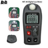 R & D MT30 Lux mètre 0 ~ 200, 000lux gamme compteur de lumière conception de poche illuminomètre lux/fc testeur photomètre test environnemental