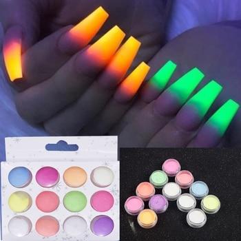 12 Boxes/Set Glow In Dark Glitter Nail Phosphorescent Powder Pigment Luminous  Shining Halloween Christmas Nail Art Decorations