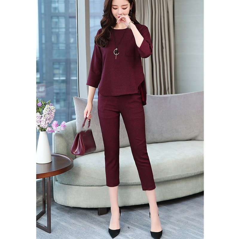 Nice Spring Summer 2 Piece Sets Women 3/5 Sleeve Tops And Crop Pants Suits Elegant Casual Office Sets