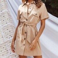 Summer Casual Short Sleeve Pockets Shirt Dress Work Office Lace Up Dress Elegant Button Lapel Mini Dress