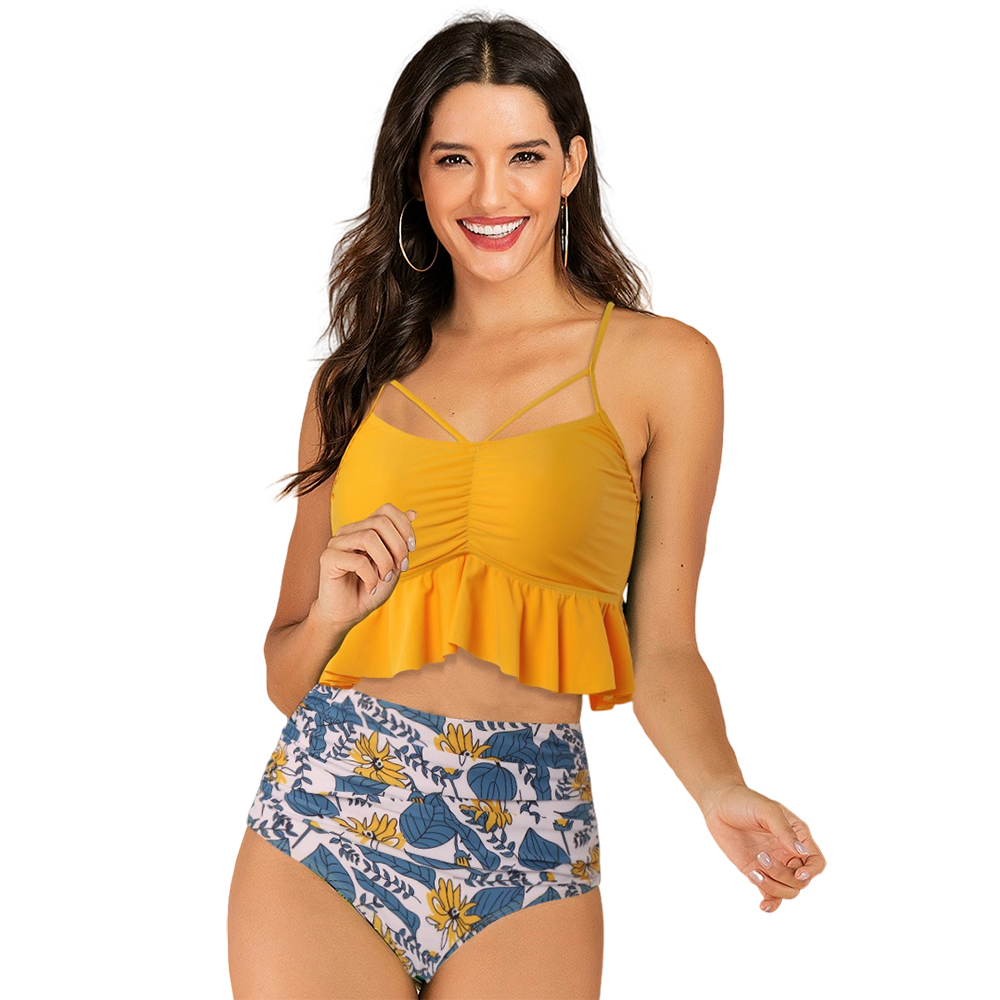 Ruffled Bikini High Waist Swimsuit Floral Women Bikini 2020 Leopard Swimwear Push Up Swimsuit Women Female Printed Bathing Suits