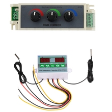 AC 220V Digital LED Dual Thermometer Temperature Controller with Dimmer RGB Knob Dimming LED Brightness