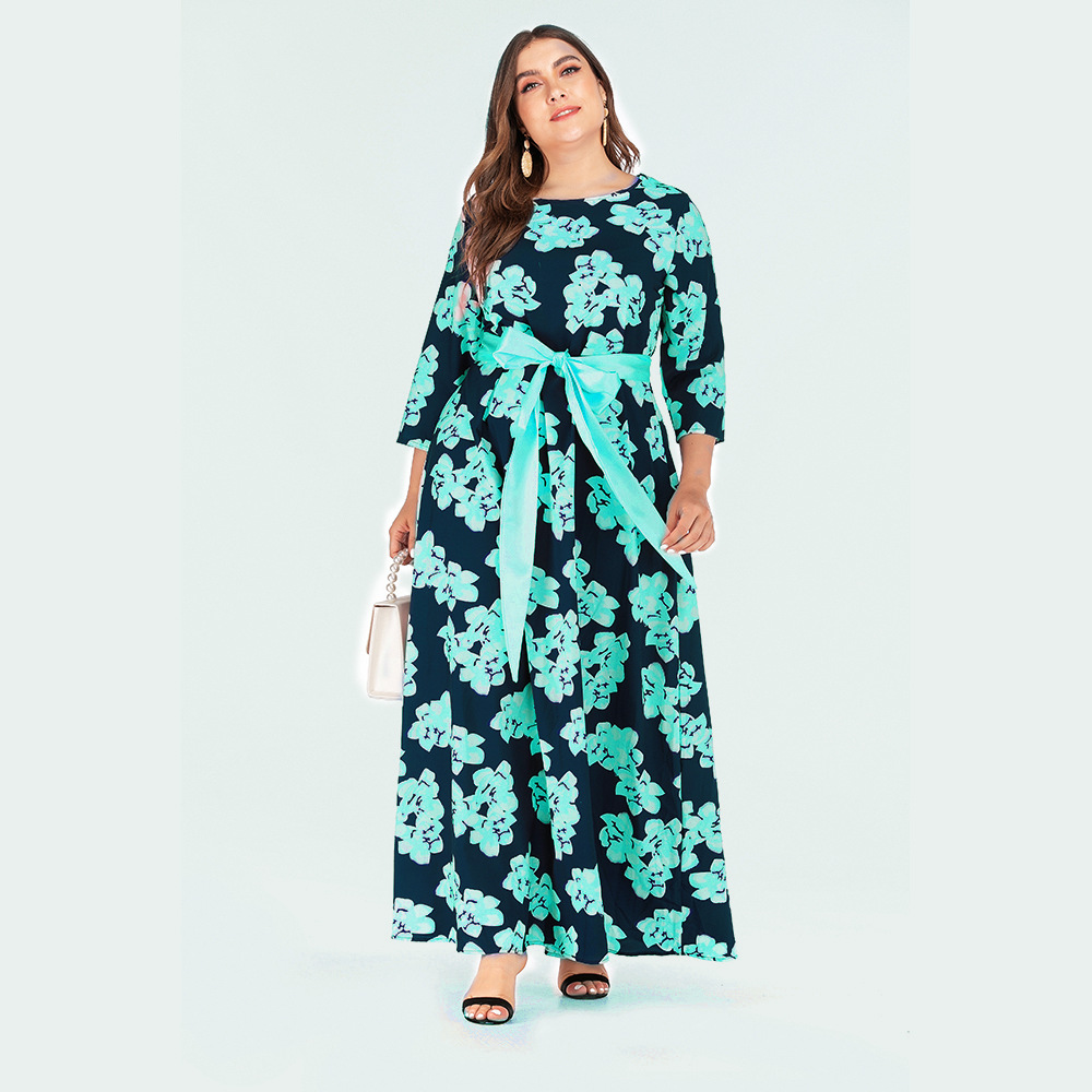 2019 Autumn And Winter New Style Large Size Dress Europe And America Long Sleeve Skirt Amazon Hot Selling Bohemian Floral Printe