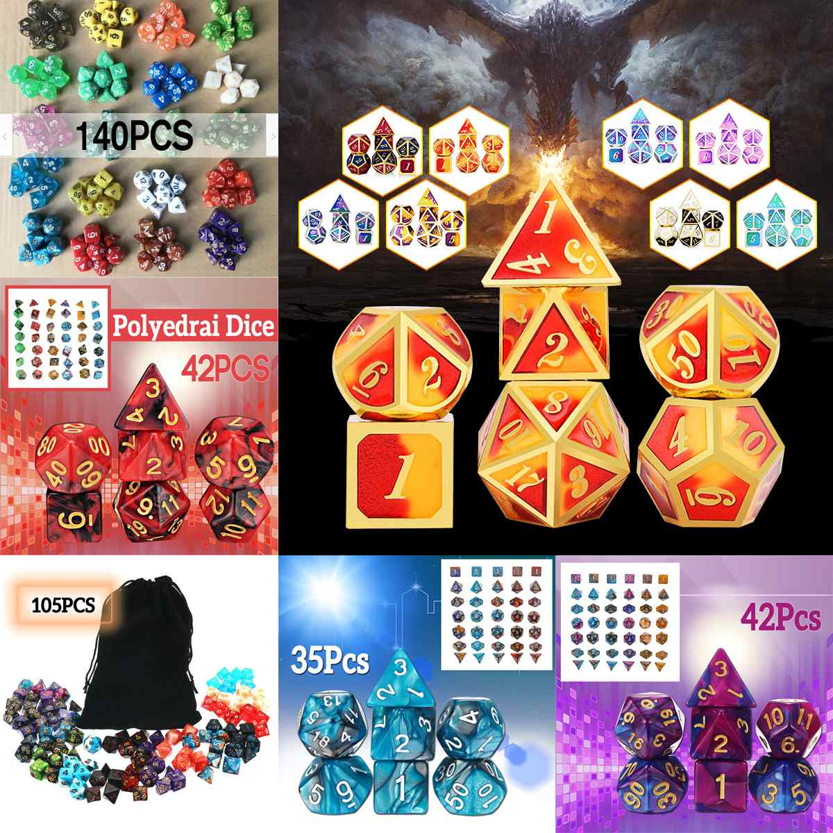 35/42/105/140PCS Polyhedral Dices For Dungeons And Dragons DND RPG MTG Desk Game With Black Pouch Bags