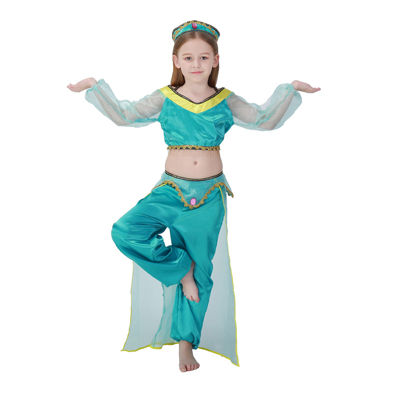 Children's Day Aladdin Lamp Princess Cosplay Costume Halloween Green Arab Girl Costume Children's Belly Indian Dance Clothes