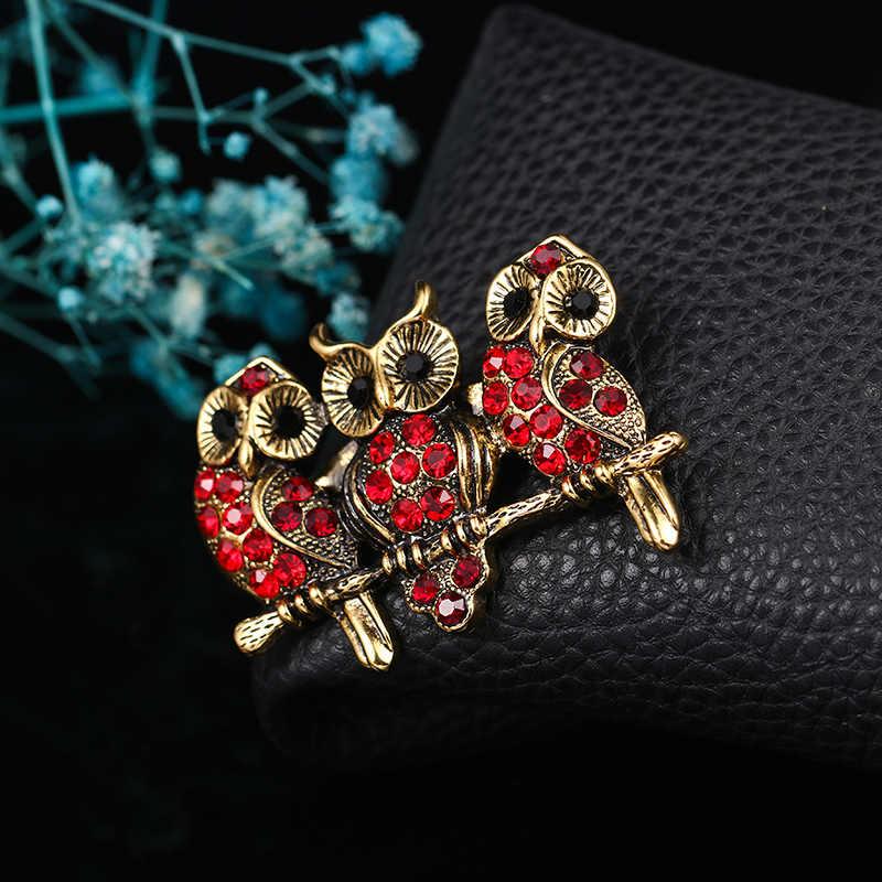 Baiduqiandu marka kırmızı Rhinestones üç Loving baykuş broş kadınlar için elbise moda takı aksesuarları