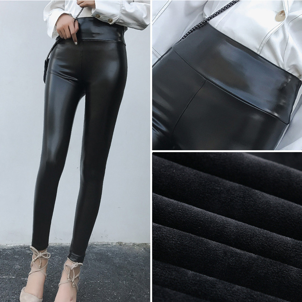 Womens Pu Leather Pants High Elastic Waist Leggings Not Crack Slim Leather Leggings Fleece Trousers Women Fashion Jeggings