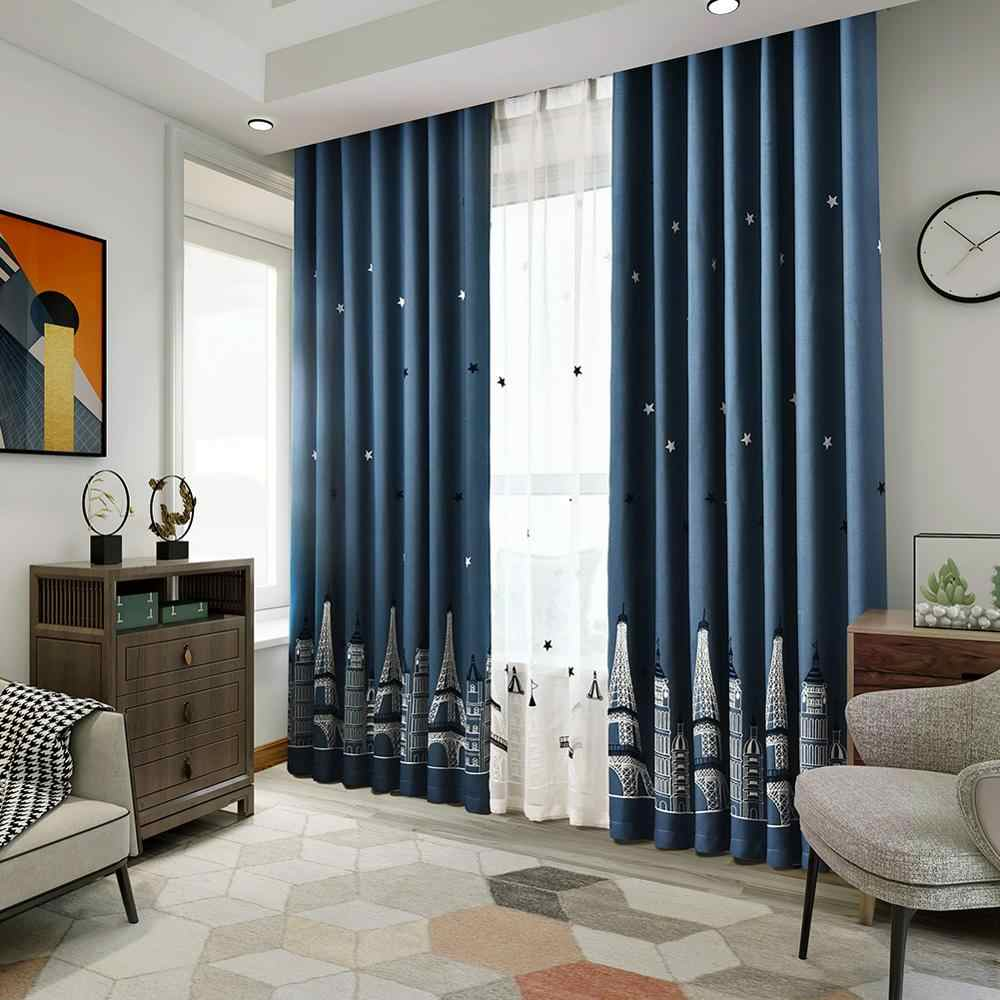 Blackout embroidered curtains kid bedroom child tower navy blue white  curtain shade window treatment curtain panel drapery