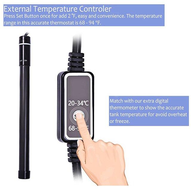 Chauffage daquarium automatique 500W, contrôle de la température, Thermostat, affichage numérique LED, tige chauffante pour tortue en titane