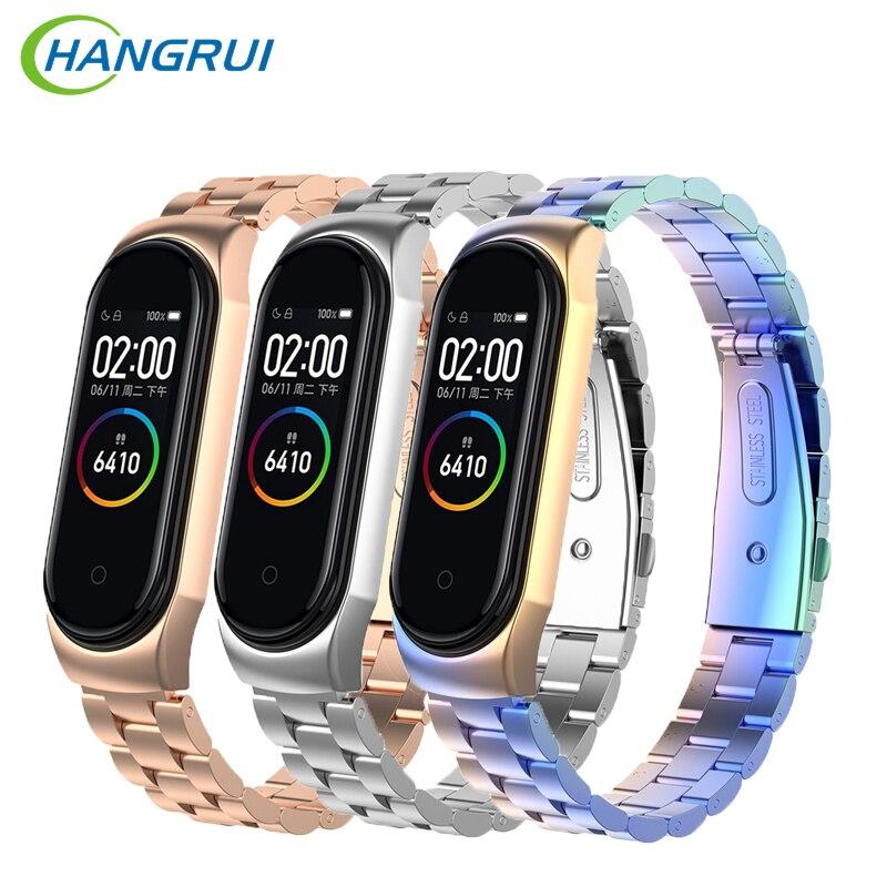 HANGRUI Wristband For Xiaomi Mi Band 3 4 Strap Smartwatch Mi Band 4 Stainless Steel Metal Bracelet Strap Universal Mi Band 4 Mi3