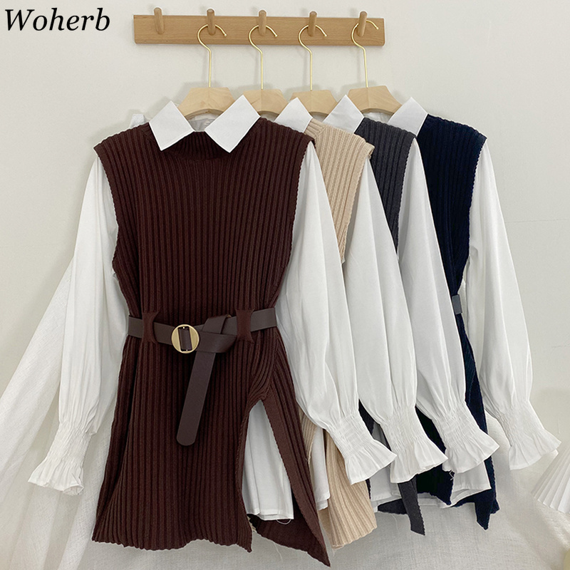 Woherb 2021 Korean Spring Autumn Women Knitted Pullovers Vest + White Blouse Casual Belt Suit Two Piece Set Conjuntos Mujer