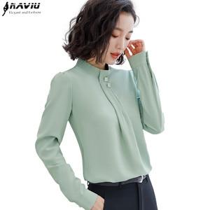 Image 1 - Naviu רך ונוח חולצה ארוך שרוול באיכות גבוהה חולצה עם יהלומים משרד ליידי Loose סגנון ירוק למעלה עבור נשים