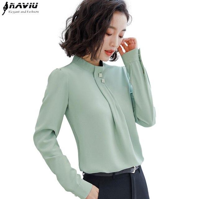 Naviu רך ונוח חולצה ארוך שרוול באיכות גבוהה חולצה עם יהלומים משרד ליידי Loose סגנון ירוק למעלה עבור נשים