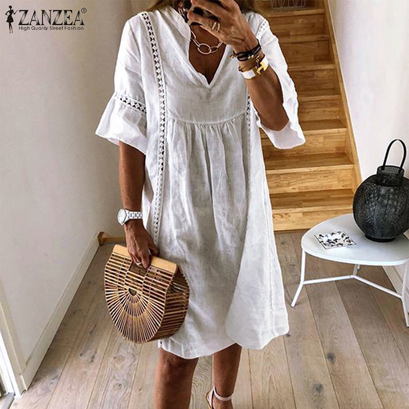 Bohemian Lace Dress Women's Summer Sundress ZANZEA 2019 Flare Sleeve Tunic Vestidos Female V Neck Hollow Patchwork Robe Femme