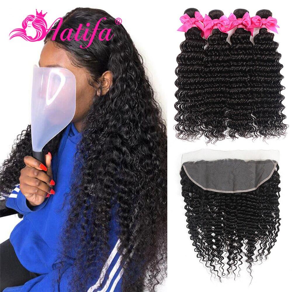 Brazilian Deep Wave Bundles With Frontal Remy Hair 13 4 Lace Frontal With Bundles 3 Bundles