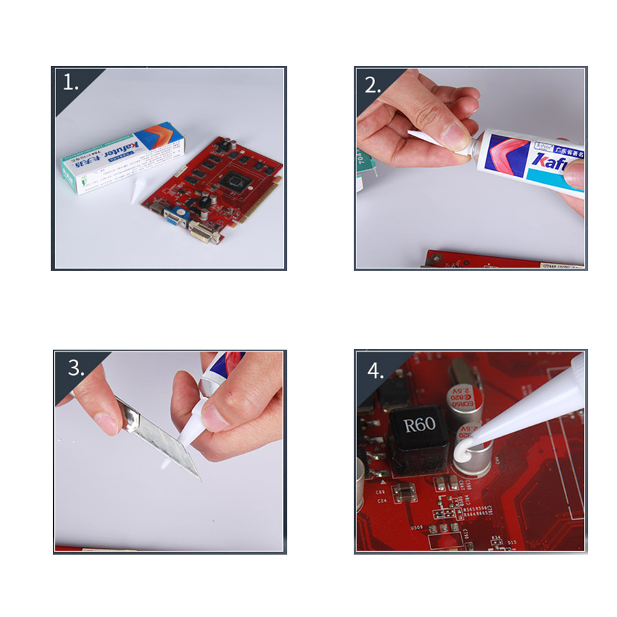 Kafuter 45g  Silicone Industrial Adhesive K-704 705 704B RTV Silicone Rubber White balck Transparent Glue 6