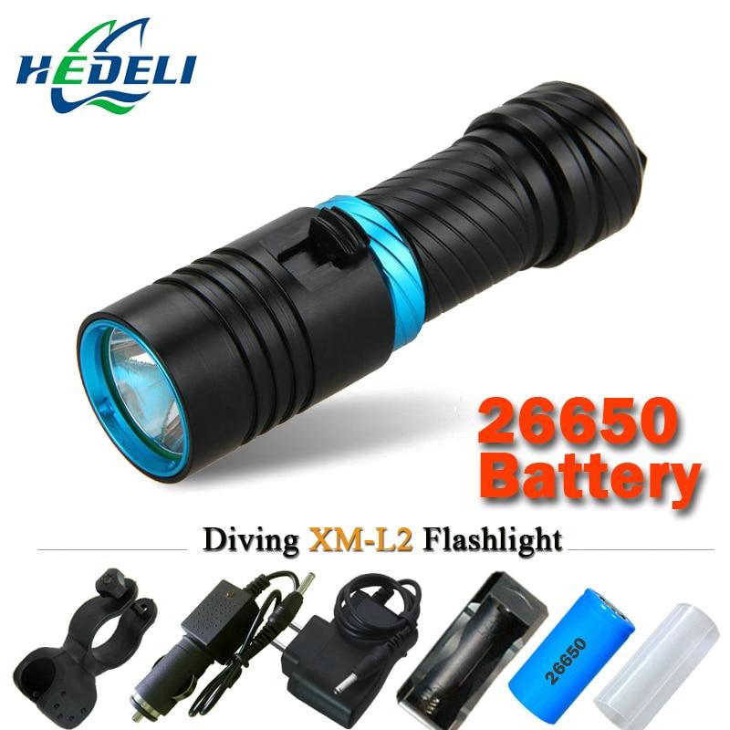 XM-L2 Professional Diving Flashlight 100M portable LED Underwater scuba lantern usb 18650 or 26650 rechargeable battery