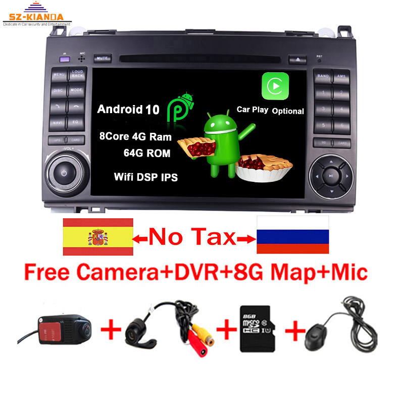 """7""""IPS Touch Screen Android 10.0 Car DVD Player for Mercedes-Benz B200 W169 A160 Viano Vito GPS NAVI RADIO BT wifi 3G dvr map"""