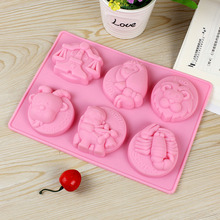 6-Cavity Silicone Soap Mold Craft Soap Making Mould Constellations Design Chocolate Candy Molds DIY Jelly Pudding Tool new arrival twelve constellations set silicone cake mold chocolate toilet soap making auxiliary tool
