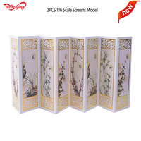 2PCS 1/6 Scale Figure Stage Accessories Chinese Modern Screen Model Toys Can be folded for 1: 6 Scale Action Figure Accessory