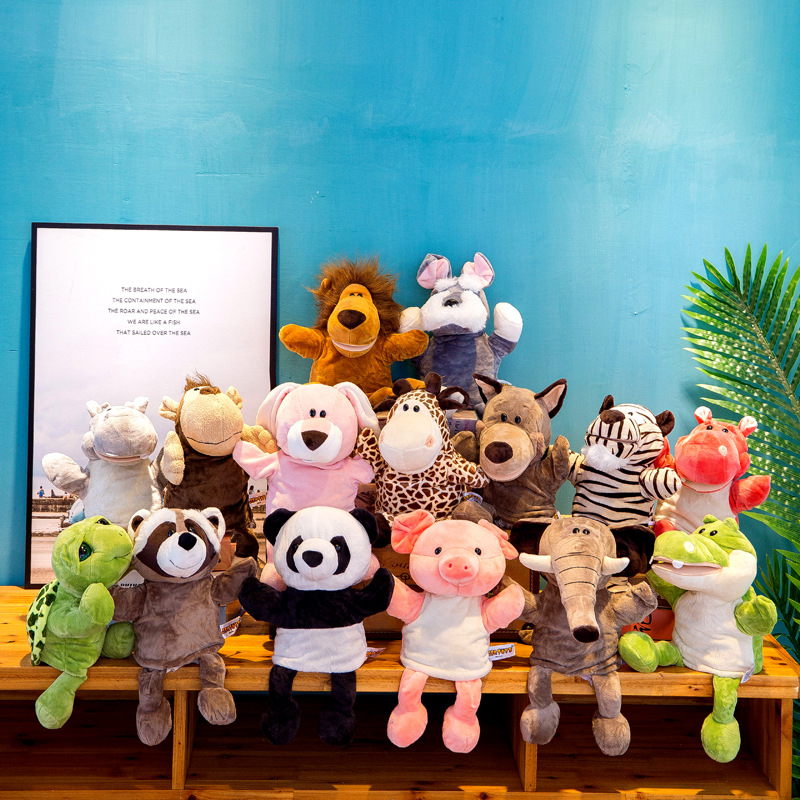 30cm Cute Whole Body Animal Hand Puppet Plush Toy Kindergarten Story Interactive Props Parent-child Game Glove Dolls