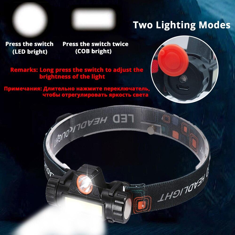 Mini kopf lampe 360 Grad Umdrehung Tragbare LED Scheinwerfer Wasserdicht Angeln scheinwerfer Taschenlampe Fahrrad Hause Laufende laterne
