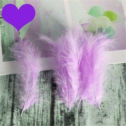 Натуральные Шлейфы 50 шт. 4-6 дюймов 10-15 см индейка перья марабу шлейф пышное свадебное платье DIY украшения аксессуары перья - Цвет: Light purple