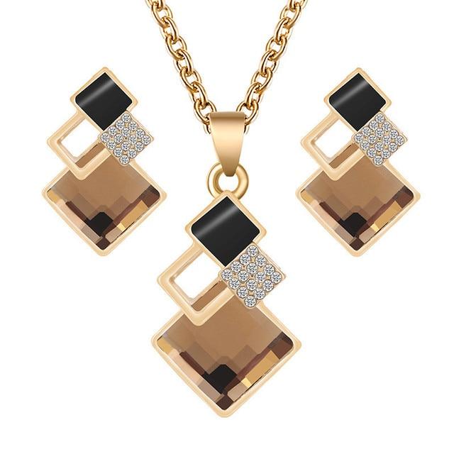 סט תכשיטים עגילים ושרשרת  קריסטל  1