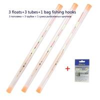 3pcs/lot Shallow Water Fishing Floats Balsa Bobber 3pcs float tubes 1 Bag Fishing hooks Fresh Water Buoy Fishing Tackles Tools