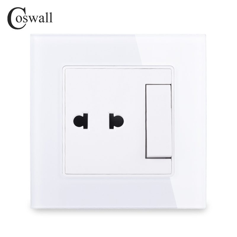 COSWALL 2 Hole Universal Wall Socket With 1 Gang 2 Way Pass Through On / Off Light Switch Switched Crystal Tempered Glass Panel