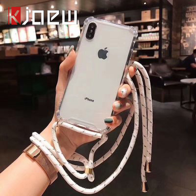 Strap Cord Chain Phone Tape Necklace Lanyard Mobile Phone Case For Carry Cover Case To Hang For IPhone XS Max XR X 7 8 6 6s Plus