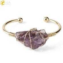 CSJA – Bracelets en pierre naturelle, manchette en cuivre, fil enroulé de couleur or, Quartz cristal irrégulier, bijoux pour enfants filles G327