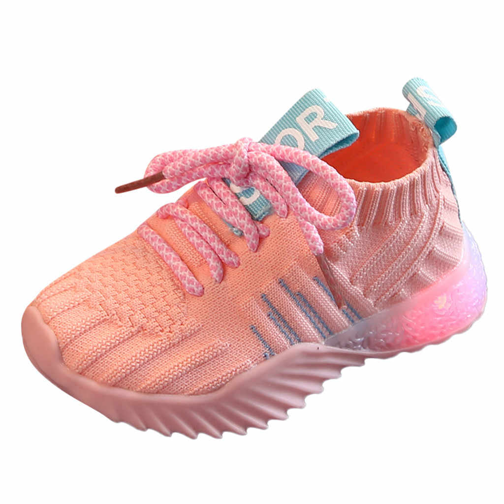 Toddler Infant Kids Baby Girls Boys Mesh LED Light Luminous Sport Shoes Sneakers Toddler Baby Flashing Lights Fashion Sneakers